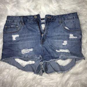 Peek-a-boo Cut Out High-Waisted Denim Shorts